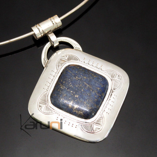 African Necklace Pendant Sterling Silver Ethnic Jewelry Blue Lapis Lazuli Big Diamond Tuareg Tribe Design 04