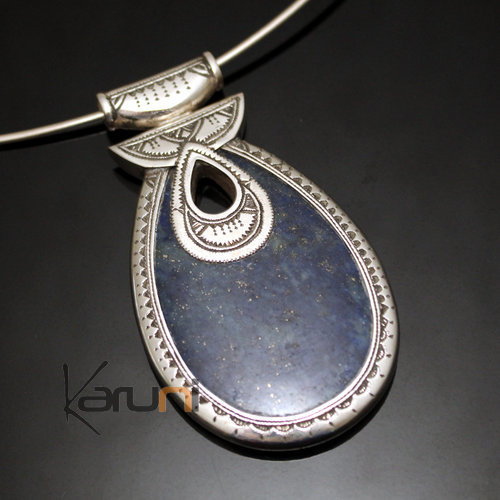 African Necklace Pendant Sterling Silver Ethnic Jewelry Big Drop Blue Lapis Lazuli Tuareg Tribe Design 05