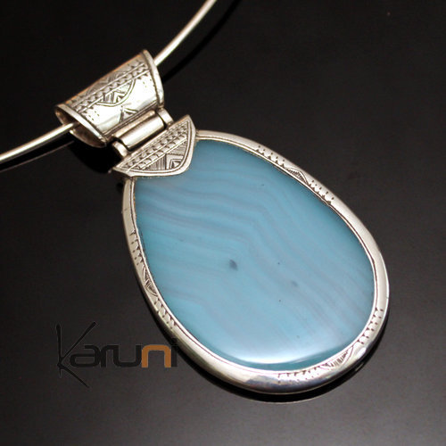 African Necklace Pendant Sterling Silver Ethnic Jewelry Big Drop Light Blue Agate Tuareg Tribe Design 02