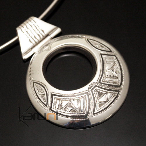 African Necklace Pendant Sterling Silver Ethnic Jewelry Engraved Big Round Tuareg Tribe Design 13