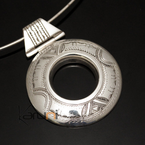 African Necklace Pendant Sterling Silver Ethnic Jewelry Big Engraved Round Tuareg Tribe Design 09