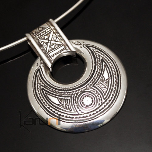 African Necklace Pendant Sterling Silver Ethnic Jewelry Big Engraved Round Tuareg Tribe Design 02