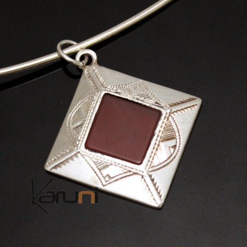 African Necklace Pendant Sterling Silver Ethnic Jewelry Red Agate Small Diamond Tuareg Tribe Design 36