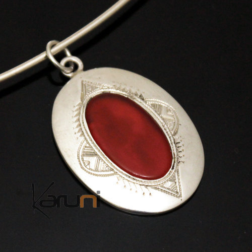African Necklace Pendant Sterling Silver Ethnic Jewelry Red Agate Small Oval Tuareg Tribe Design 37
