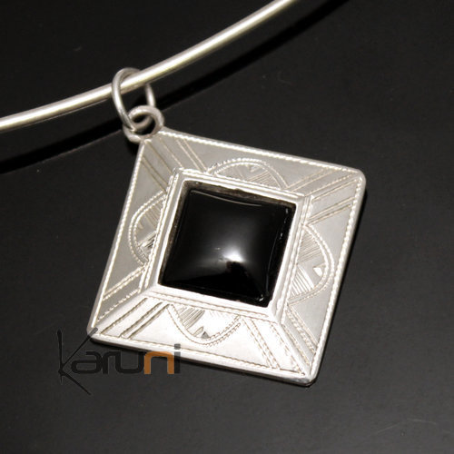 African Necklace Pendant Sterling Silver Ethnic Jewelry Black Onyx Small Engraved Diamond Tuareg Tribe Design 20
