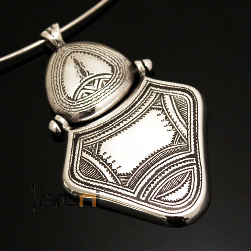 African Necklace Pendant Sterling Silver Ethnic Jewelry Big Engraved Tuareg Tribe Design 31