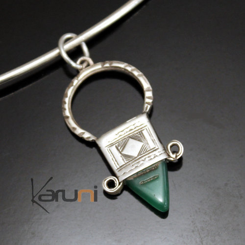 African Southern Cross Necklace Pendant Sterling Silver Ethnic Jewelry Green Agate from Ingall Niger Tuareg Tribe Design 01