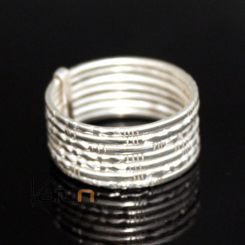 Ethnic Jewelry Ring Sterling Silver Seven Band Men/Women Tuareg Tribe Design KARUNI