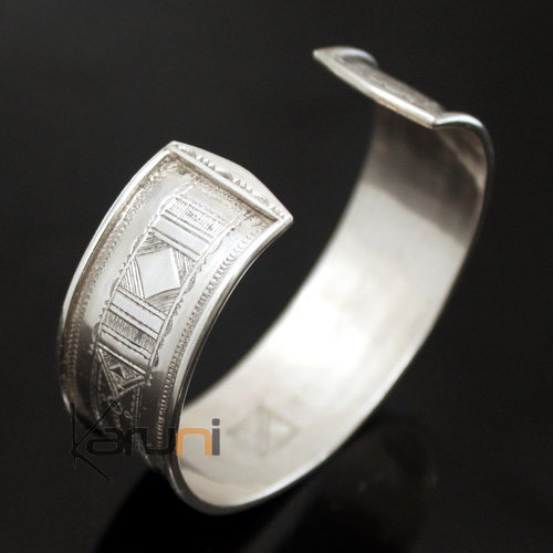 Ethnic Wide Bracelet Sterling Silver Jewelry Large Flat Engraved Men/Women Tuareg Tribe Design 02
