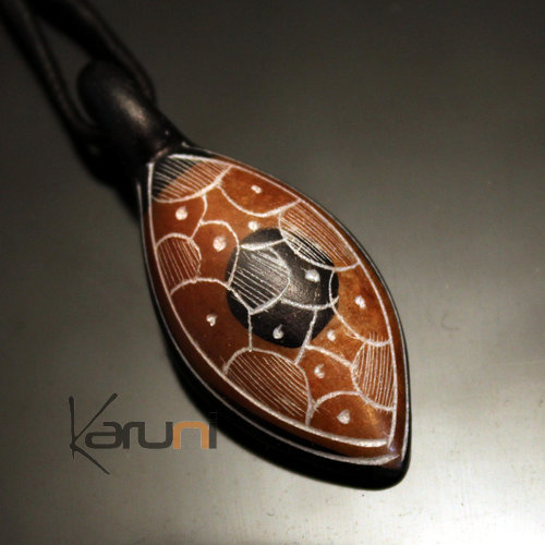 Ethnic Tuareg Jewelry Necklace Pendant Soap Stone Engraved 75 Niger Leaf