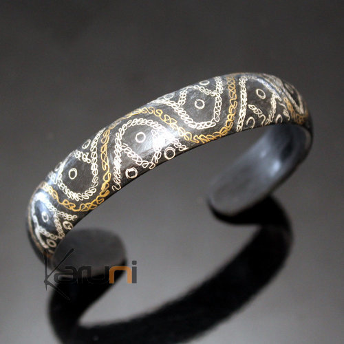 African Bracelet Ethnic Jewelry Silver Horn Bronze Mix Filigree from Mauritania Men/Women 01