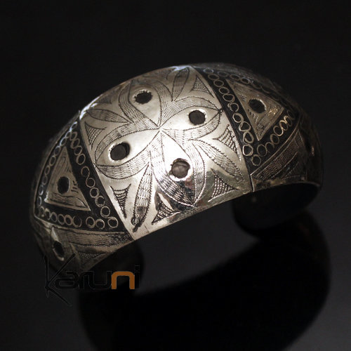 African Bracelet Cuff Ethnic Jewelry Mix Silver Horn Engraved Filigree Art Deco 08