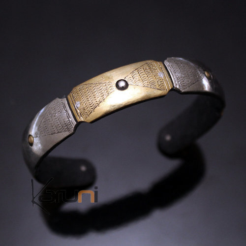 African Bracelet Ethnic Jewelry Silver Mix Horn Bronze Engraved Plate from Mauritania 01