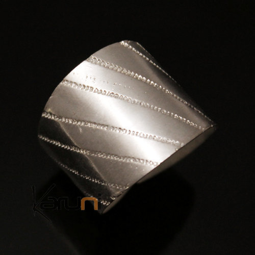 Adjustable plated Silver Ring Fulani 11