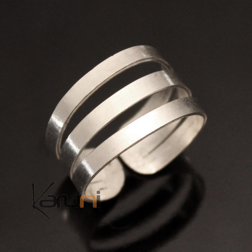 Adjustable Handled Silver Plated Ring Peul Fulani 18 Ring Triple Plate Design Karuni