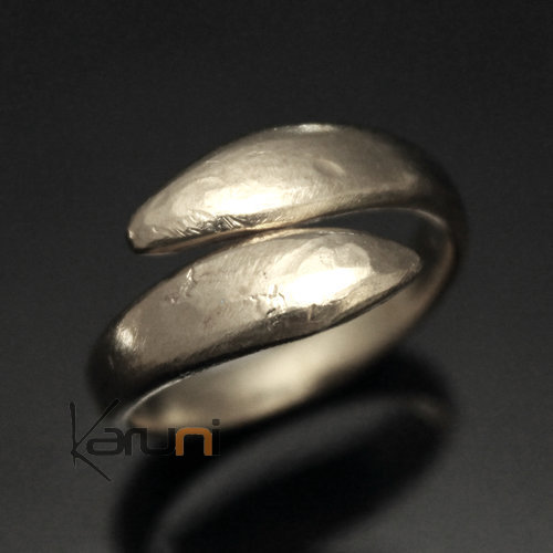 Adjustable Handled Silver Plated Ring Fulani Fulani 32 Serpent Design Karuni