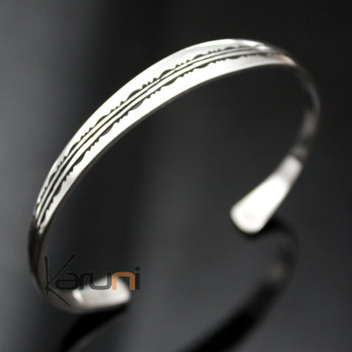 Ethnic Bracelet Sterling Silver Jewelry Engraved Large Kid/Baby Tuareg Tribe Design 08