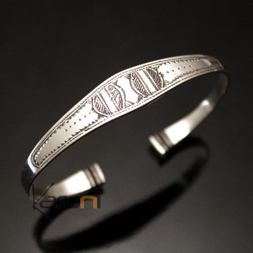 Ethnic Bracelet Sterling Silver Jewelry Large Ebony Ends Men/Women Tuareg Tribe Design 01