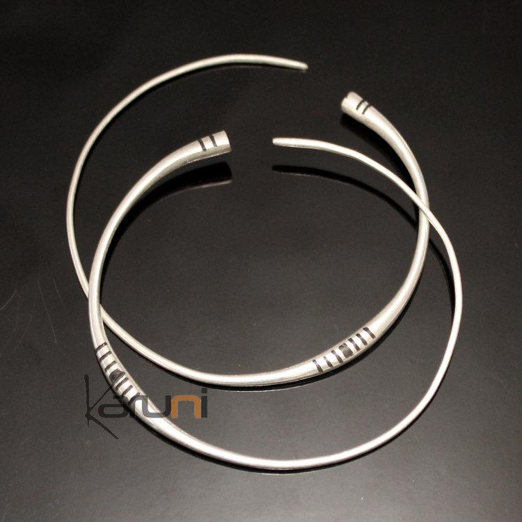 302dd30f3 Ethnic Hoop Earrings Sterling Silver Jewelry Ebony Lines Tuareg Tribe  Design 14 4,5 cm