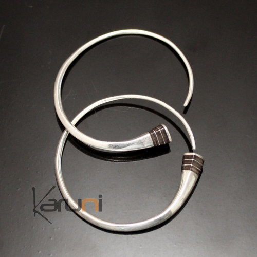 Ethnic Hoop Earrings Sterling Silver Jewelry Tesibit Ebony Smooth Tuareg Tribe Design 04 3 cm