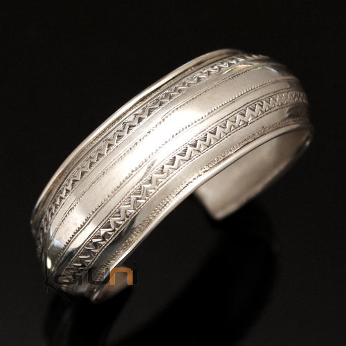 Ethnic Bracelet Sterling Silver Jewelry Large Rounded Engraved Tuareg Tribe Design 05