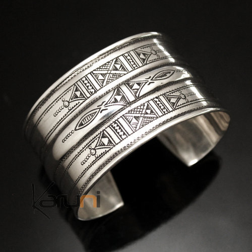 Ethnic Cuff Bracelet Sterling Silver Jewelry Large Engraved Tuareg Tribe Design 05