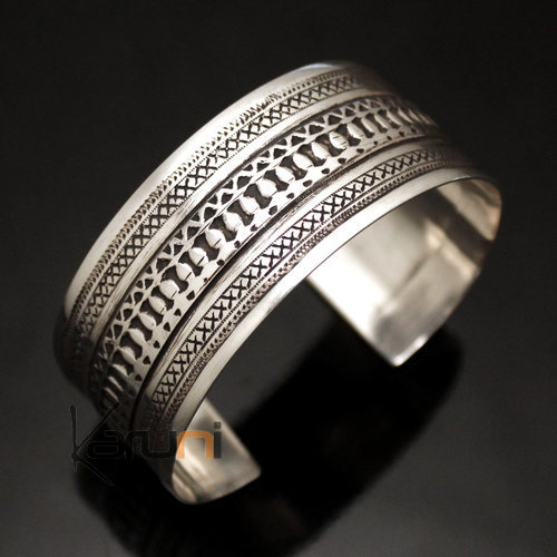 Ethnic Cuff Bracelet Sterling Silver Jewelry Large Engraved Tuareg Tribe Design 10 b