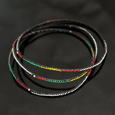 Ethnic African Jewelry Plastic Bracelets Men / Women / Child Lot 6 or 12 Yellow/Red From Mali