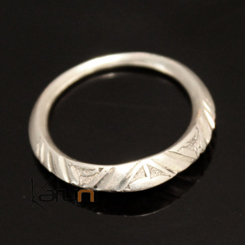 Ethnic Engagement Ring Wedding Jewelry Sterling Silver Thin Engraved Men/Women Tuareg Tribe Design Angled 02