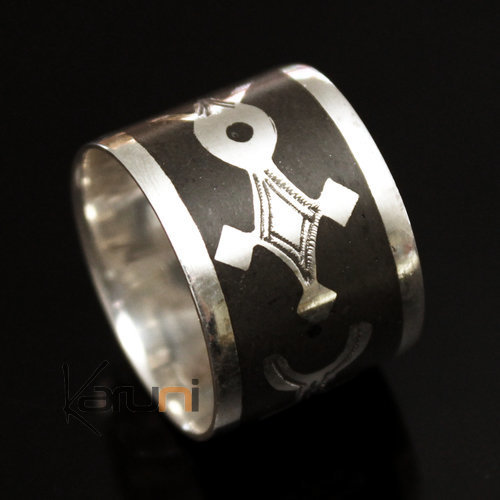 Ethnic Engagement Ring Wedding Jewelry Sterling Silver Ebony Strips 3 Men/Women Tuareg Tribe Design KARUNI