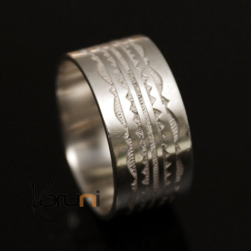 Ethnic Engagement Ring Wedding Jewelry Sterling Silver Semi-large Men/Women Tuareg Tribe Design 08