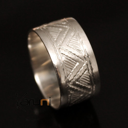 Ethnic Engagement Ring Wedding Jewelry Sterling Silver Semi-large Men/Women Tuareg Tribe Design 09