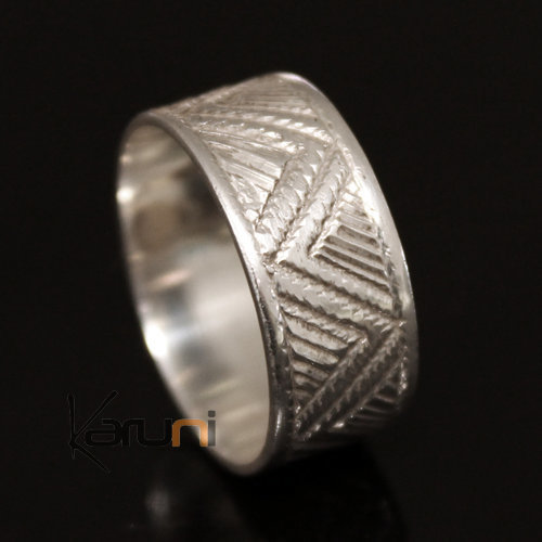 Ethnic Engagement Ring Wedding Jewelry Sterling Silver Semi-large Men/Women Tuareg Tribe Design 15
