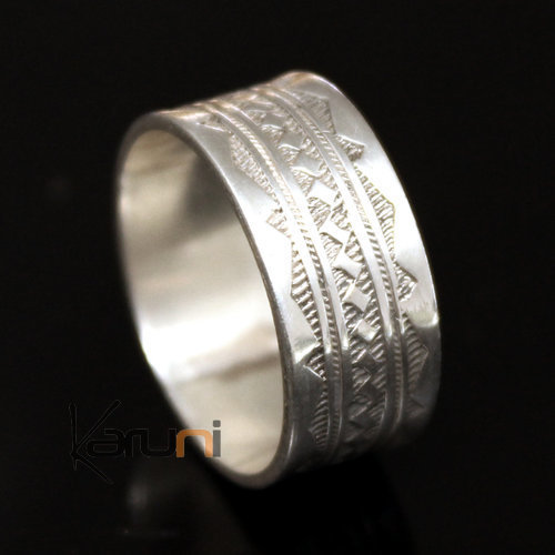 Ethnic Engagement Ring Wedding Jewelry Sterling Silver Semi-large Men/Women Tuareg Tribe Design 11