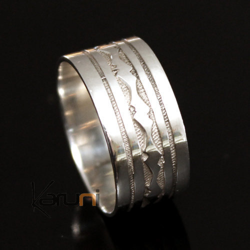 Ethnic Engagement Ring Wedding Jewelry Sterling Silver Semi-large Men/Women Tuareg Tribe Design 12