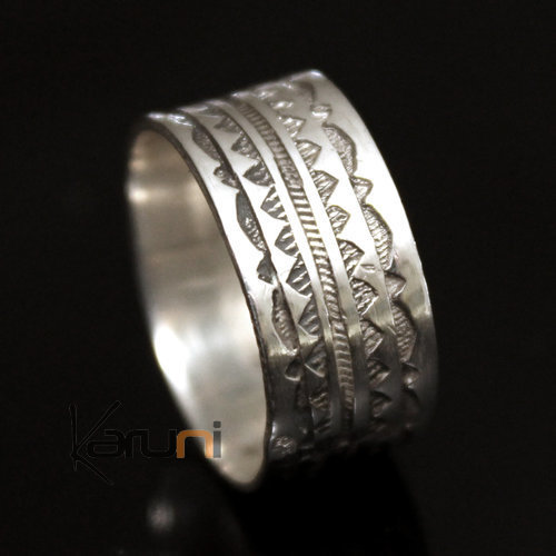 Ethnic Engagement Ring Wedding Jewelry Sterling Silver Semi-large Men/Women Tuareg Tribe Design 13