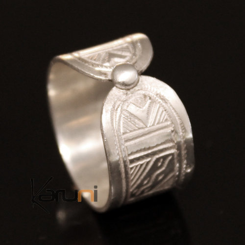 Ethnic Reversible Engagement  Ring Wide Band Wedding Jewelry Sterling Silver Semi-large Men/Women Tuareg Tribe Design 01