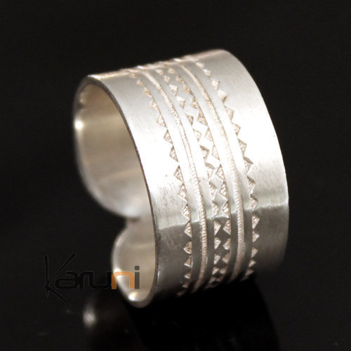 Ethnic Engagement Ring Wide Band Wedding Jewelry Sterling Silver Semi-large Men/Women Tuareg Tribe Design 02