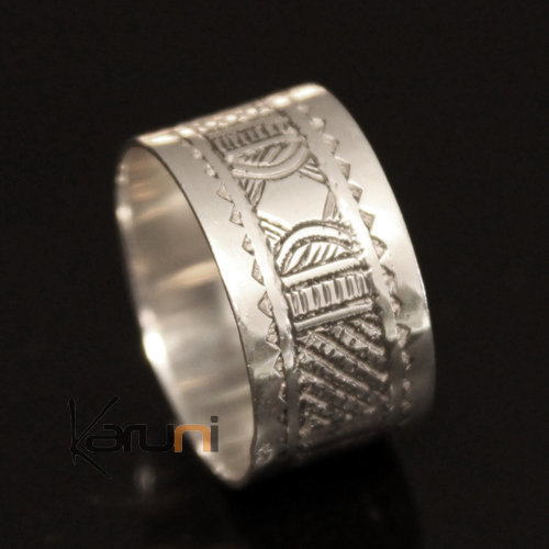 Ethnic Engagement Ring Wedding Jewelry Sterling Silver Semi-large Men/Women Tuareg Tribe Design 14