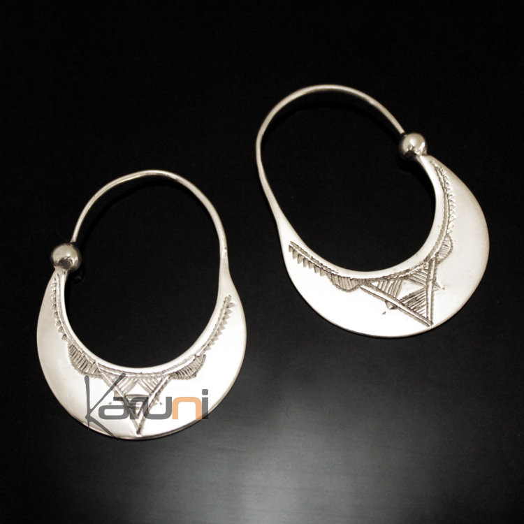 e79afcaf3 Ethnic Hoop Earrings Sterling Silver Jewelry Engraved Flat Tuareg Tribe  Design 24 3 cm