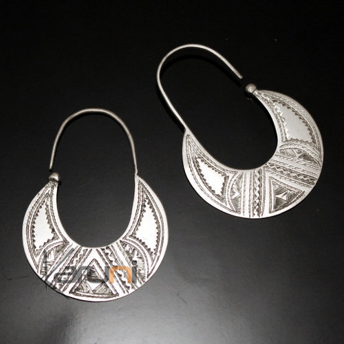 Ethnic Hoop Earrings Sterling Silver Jewelry Engraved Flat Tuareg Tribe Design 28 3 cm