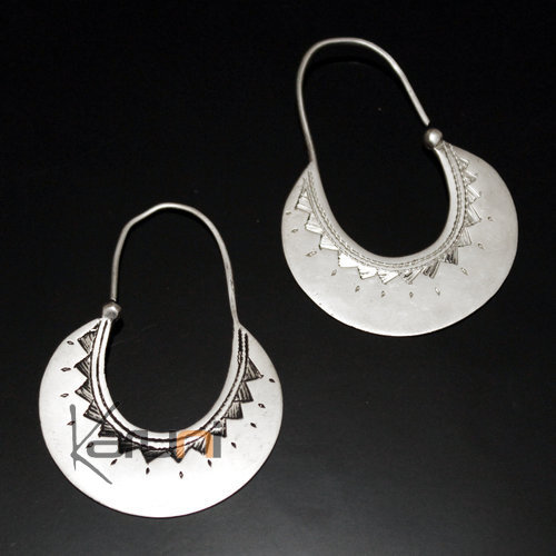 Ethnic Hoop Earrings Sterling Silver Jewelry Engraved Flat Tuareg Tribe Design 29 3 cm