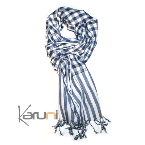 Scarf Stole Krama Cotton Cambodia Design Men/Women Big Checks Plaid Bassac Sarany Shop Navy blue/White 170x60 cm
