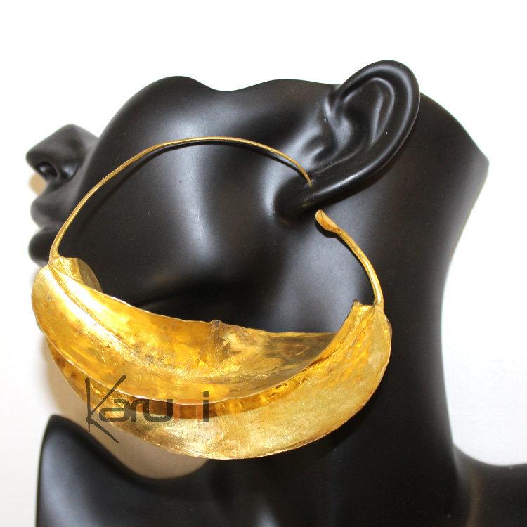 Fulani Earrings: Fulani Earrings Hoops African Ethnic Jewelry Gold Version