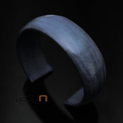 Ethnic Leather Bracelet Jewelry Large Blue Tuareg Tribe Design 10