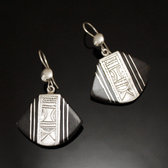 Ethnic Earrings Sterling Silver Jewelry Ebony Fans Tuareg Tribe Design 48