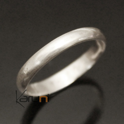 Silver Ring Ring Men / Women 09 Semi-Curved Smooth Inspiration Karuni