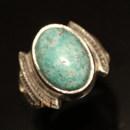Ethnic Signet Ring Sterling Silver Jewelry Blue Turquoise Oval Men/Women Tuareg Tribe Design 52 b