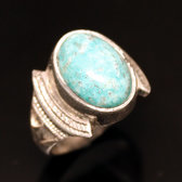 Ethnic Signet Ring Sterling Silver Jewelry Blue Turquoise Oval Men/Women Tuareg Tribe Design 52