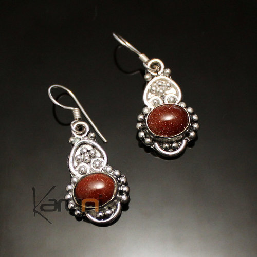 Indian Brass sun stone earrings 07